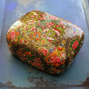 Indian handicraft papier mache box colorful