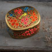 Indian handicraft papier mache box golden