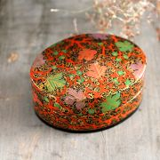 Indian handicraft papier mache box orange
