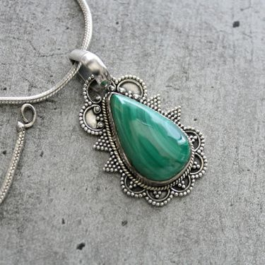 Silver and malachite stone Indian pendant