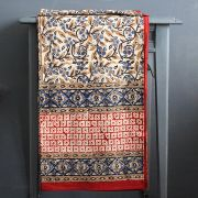 Indian handicraft printed tablecloth Bagru maroon and blue