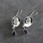Indian silver and amethyst stones earrings