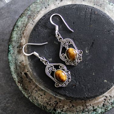 Indian silver and tiger stones earrings