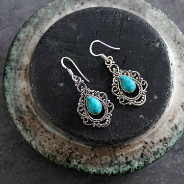 Indian silver and turquoise stones earrings