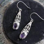 Indian silver and amethyst gemstones earrings