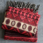 Nepalese woolen shawl traditional red and brown