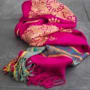 Indian mixed cotton scarf pink and gold