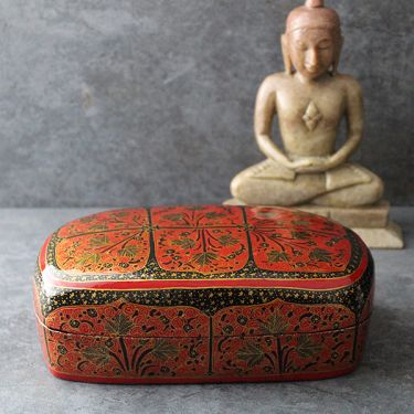 Indian handicraft papier mache box red color