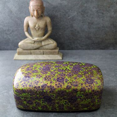 Indian handicraft papier mache box purple
