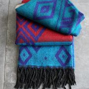 Nepalese woolen shawl traditional blue and red