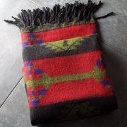 Nepalese woolen shawl traditional red and green