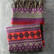 Nepalese woolen shawl traditional purple and red