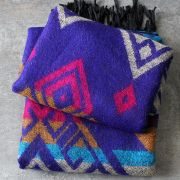 Nepalese woolen shawl traditional purple and blue