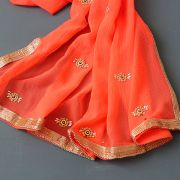 Saree indien traditionnel complet pêche