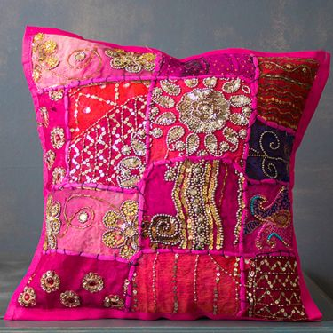 Indian cushion cover Patchwork magenta L40