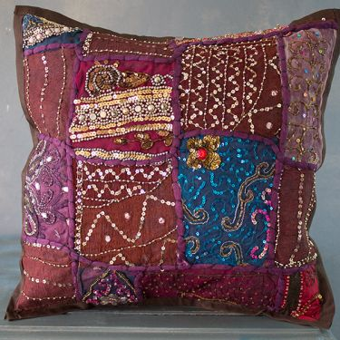 Indian cushion cover Patchwork brown L40
