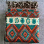 Nepalese woolen shawl traditional green and orange