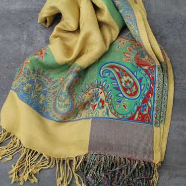 Indian mixed cotton scarf beige and green