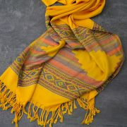Indian mixed cotton scarf yellow
