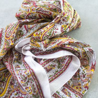 Indian printed coton scarf white and red