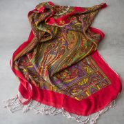 Indian printed cotton scarf red