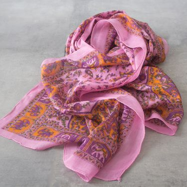 Indian printed coton scarf pink and yellow