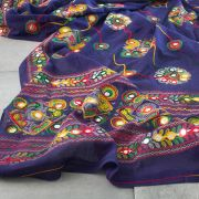 Indian embroidered coton Dupatta purple