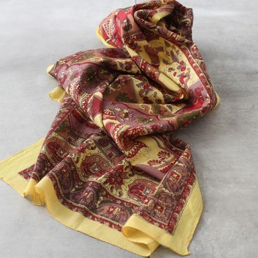Indian printed coton scarf yellow and purple