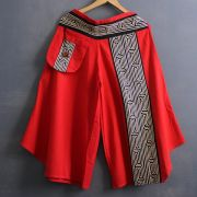 Ethnic cotton pants 3/4 red color