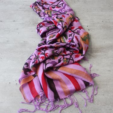 Indian scarf printed cotton purple
