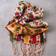 Indian scarf printed cotton pink