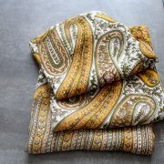 Indian scarf printed cotton yellow
