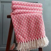 Indian cotton sofa throw strawberry and white