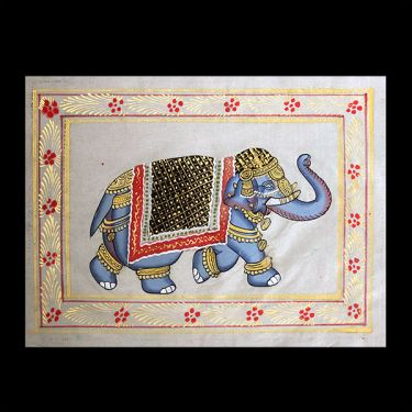 Indian miniature painting Elephant offwhite
