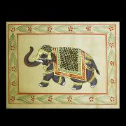 Indian miniature painting Elephant yellow