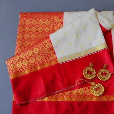 Indian saree art silk red and white colors