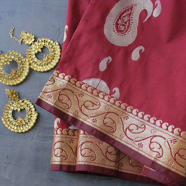 Indian saree art silk maroon