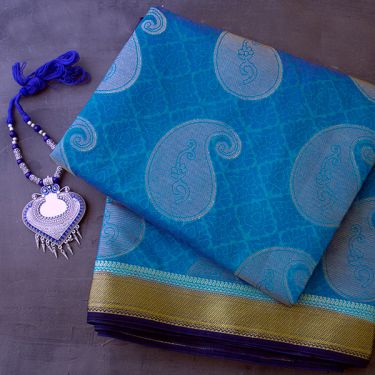 Indian saree art silk blue and purple