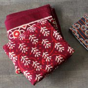 Indian printed tablecloth Dabu maroon
