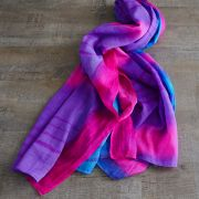 Indian tied and dyed cotton scarf blue and pink