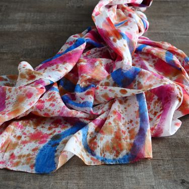 Indian tied and dyed cotton scarf colorful