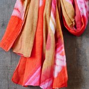 Indian tied and dyed cotton scarf pink and orange
