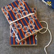 Indian handicraft coton diary orange and blue