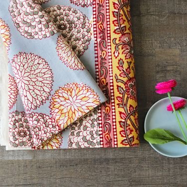 Indian handicraft printed table cover pink and blue
