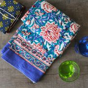 Indian handicraft printed table cover blue and red