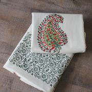 Indian printed cotton table cover red and green