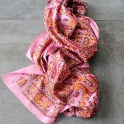 Indian printed coton scarf pink and red