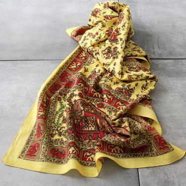 Indian printed coton scarf yellow and red