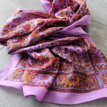 Indian printed coton scarf purple and red