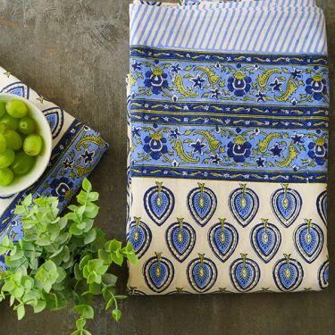Indian printed cotton table cover blue color